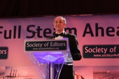 10.11.14 Society Of Editors Gala dinner at Grand Harbour Hotel. Pictured: incoming President Doug Wills addresses guests