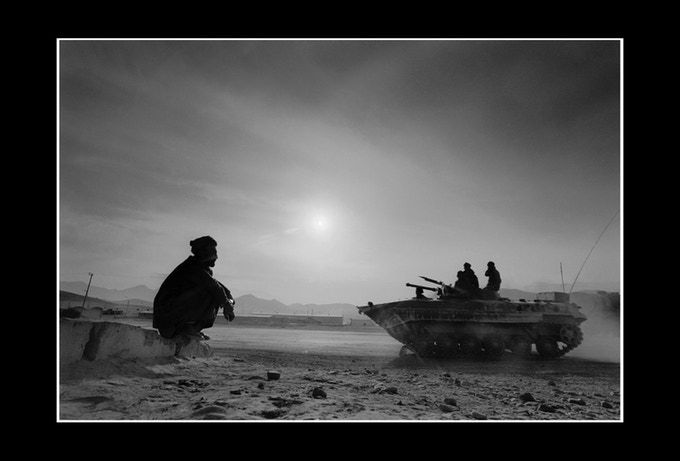A Russian tank enters Kabul