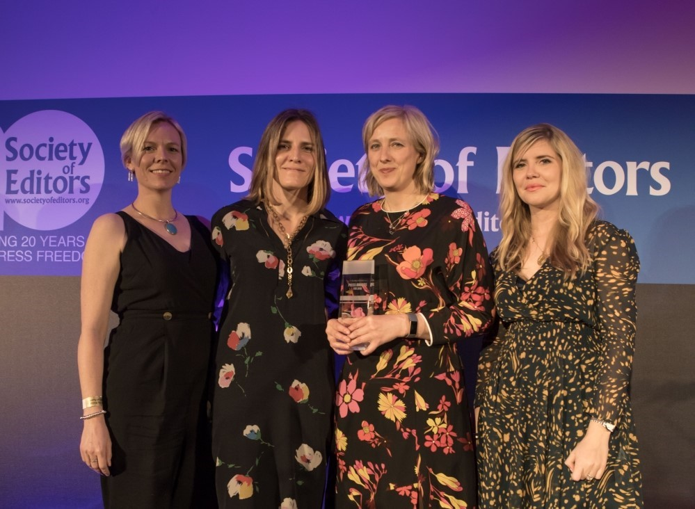 Winners of investigation of the year - Cambridge Analytica team and Emma Barnett