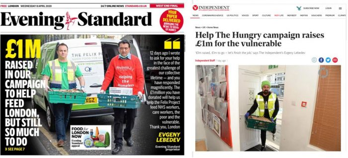 Evening Standard and Independent food campaign: £1M raised; £1M to go –  Society of Editors